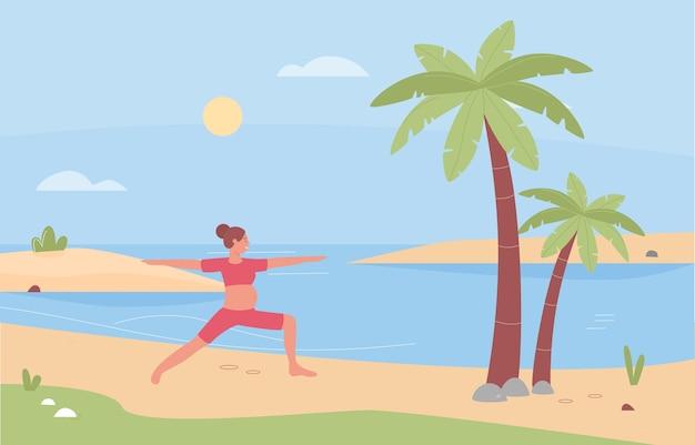 Illustration d'exercice de yoga prénatal