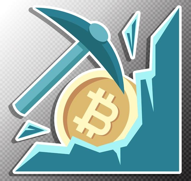 Illustration de l'exploitation minière bitcoin dans un style plat