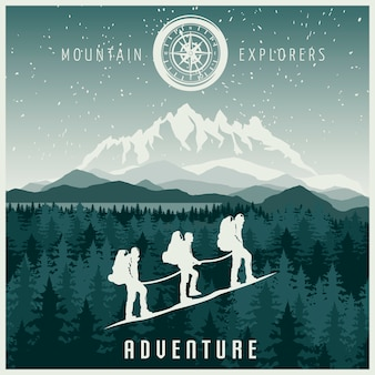 Illustration des explorateurs de montagne