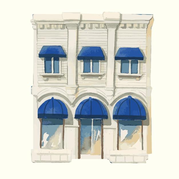 Illustration d'un extérieur de bâtiment européen vintage en couleur de l'eau