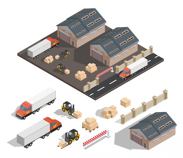 Illustration extérieure entrepôt isométrique.