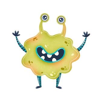Illustration d'un extraterrestre mignon de bande dessinée verte. monstre mignon isolé sur blanc.