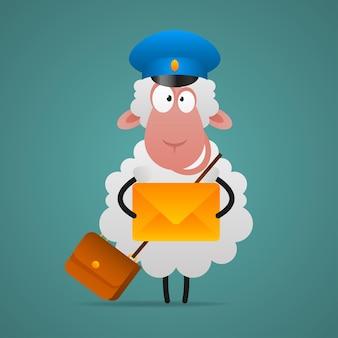 L'illustration, le facteur de mouton gai tient la lettre, format eps 10
