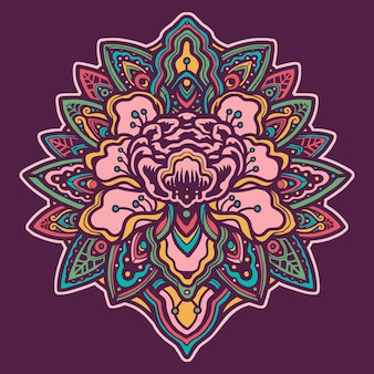 Illustration faite à la main de fleurs colorées mandala