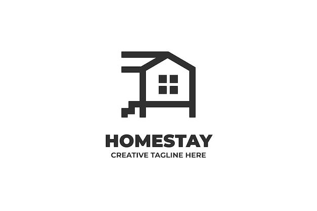 Illustration de famille d'accueil logo d'entreprise d'une ligne