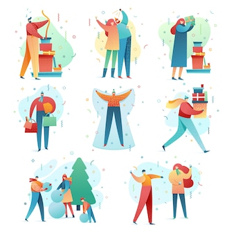 Illustration de la famille et des amis pour célébrer les vacances d'hiver