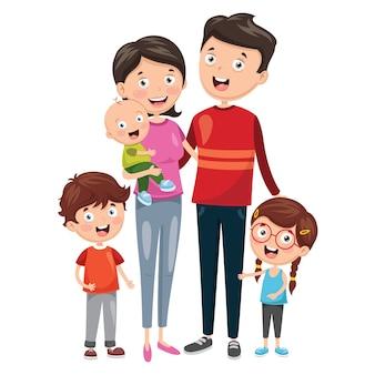 Illustration de la famille heureuse