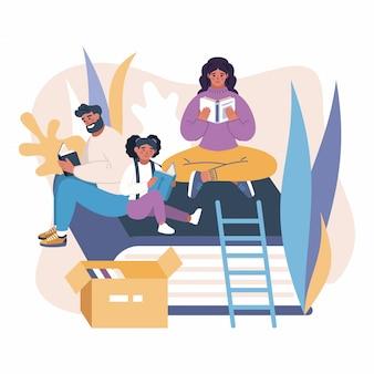 Illustration d'une famille lisant des livres.