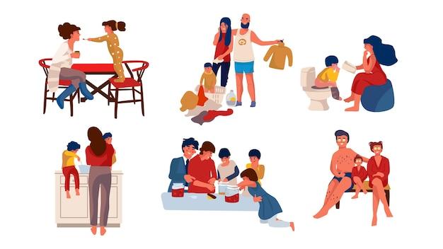 Illustration de la famille à la maison