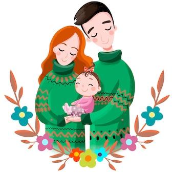 Illustration famille maman papa et bébé fille en pulls verts mignon belle