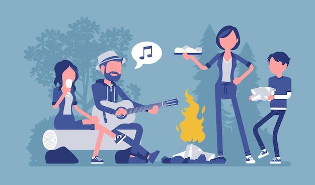 Illustration de la famille près du feu de camp