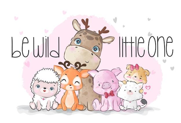 Illustration de famille sauvage bébé animaux mignons pour les enfants