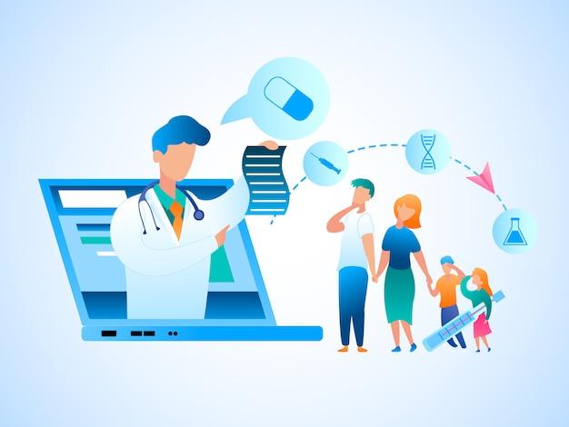 Illustration family consultation doctor online. image vectorielle homme et femme tenant des enfants malades à la main. un médecin prescrit un traitement à partir d'un moniteur d'écran pour ordinateur portable. consultation de médecin en ligne