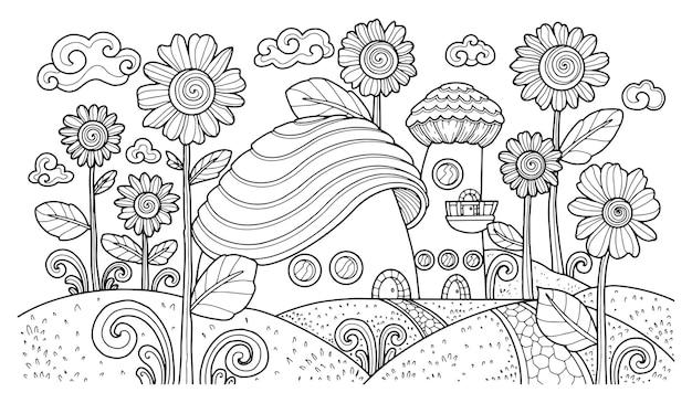 Illustration fantastique pour coloriage adulte