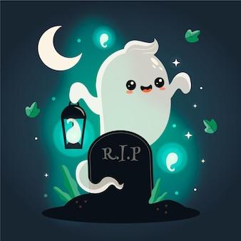 Illustration de fantôme halloween plat dessiné à la main