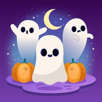 Illustration de fantômes d'halloween dégradé