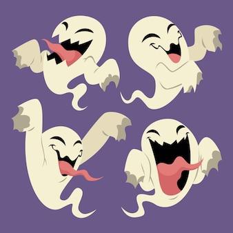 Illustration de fantômes d'halloween plats dessinés à la main