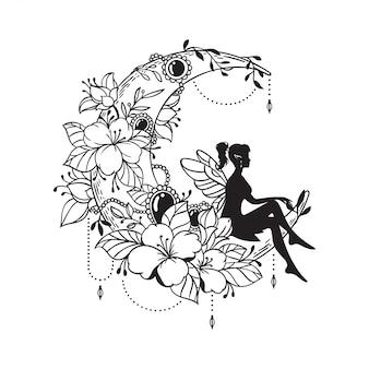 Illustration de fée et croissant de lune