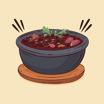 Illustration de feijoada dessinée à la main