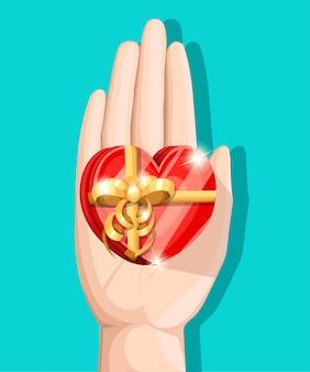 Illustration de félicitation avec boîte-cadeau en mains sur la page du site web de fond blanc et application mobile