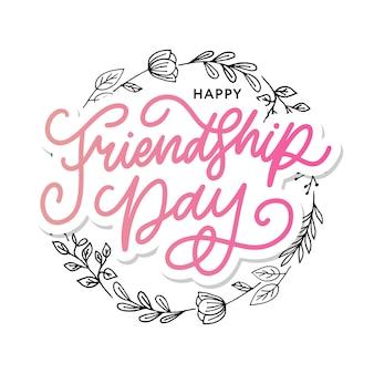 Illustration de félicitation de jour de l'amitié heureux dessiné à la main dans un style de mode avec signe de texte de lettrage et triangle de couleur pour effet grunge sur fond blanc