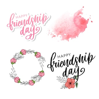 Illustration de felicitation de jour de l'amitié heureux dessinés à la main dans le style de la mode.