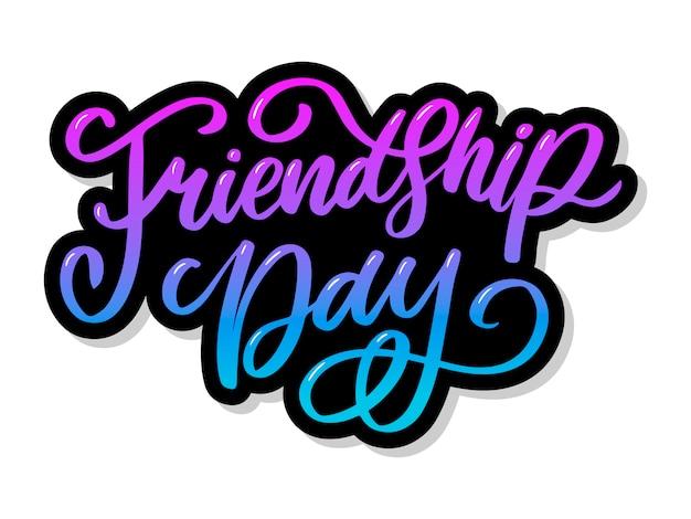 Illustration de la félicitation de la journée de l'amitié heureuse dessinée à la main dans un style de mode avec lettrage signe texte et triangle de couleur pour effet grunge sur fond blanc