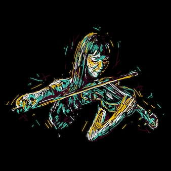 Illustration de femme abstraite violoniste