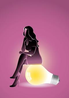 Une illustration d'une femme d'affaires assise et pensant sur une ampoule