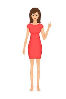 Illustration d'une femme d'affaires de dessin animé mignon vêtue d'une robe rouge