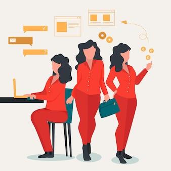 Illustration de femme d'affaires multitâche dessinée à plat