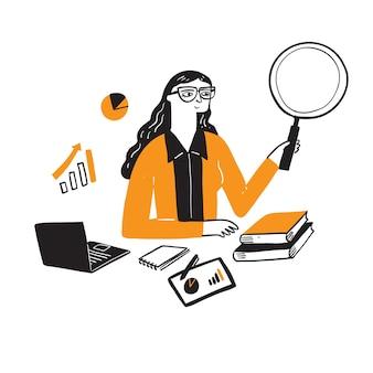 Illustration d'une femme d'affaires de recherche