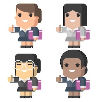 Illustration, femme d'affaires souriant et montrant les pouces vers le haut, format eps 10