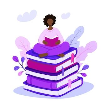 Illustration femme assise sur une pile de livres géants et lecture.
