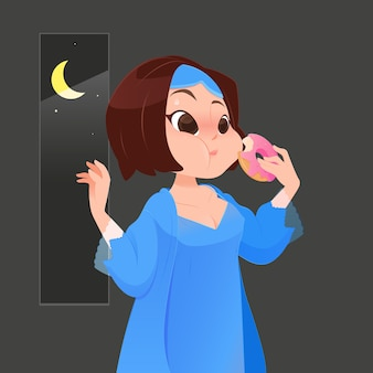 Illustration femme en chemise de nuit bleue, manger des beignets