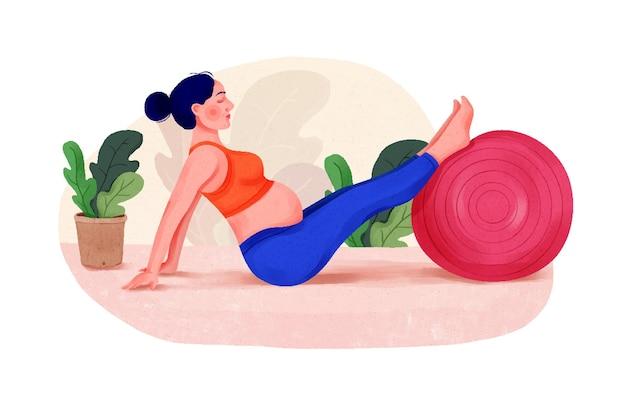 Illustration d'une femme enceinte séduisante travaillant sur un exercice d'étirement de femme enceinte