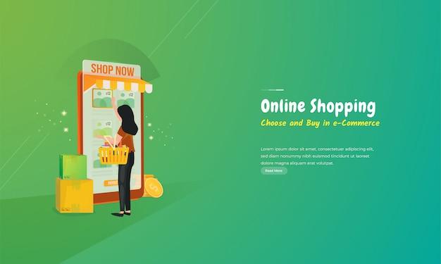 Illustration d'une femme faisant du shopping dans une application de boutique en ligne mobile