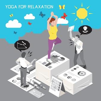 Illustration d'une femme faisant du yoga pour se détendre sur les documents du bureau