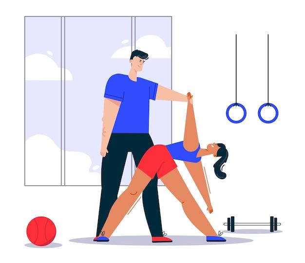 Illustration de femme faisant du yoga qui s'étend avec un entraîneur personnel. anneaux de gymnastique, haltères et ballon dans la salle de gym. plan d'entraînement individuel, mode de vie sain