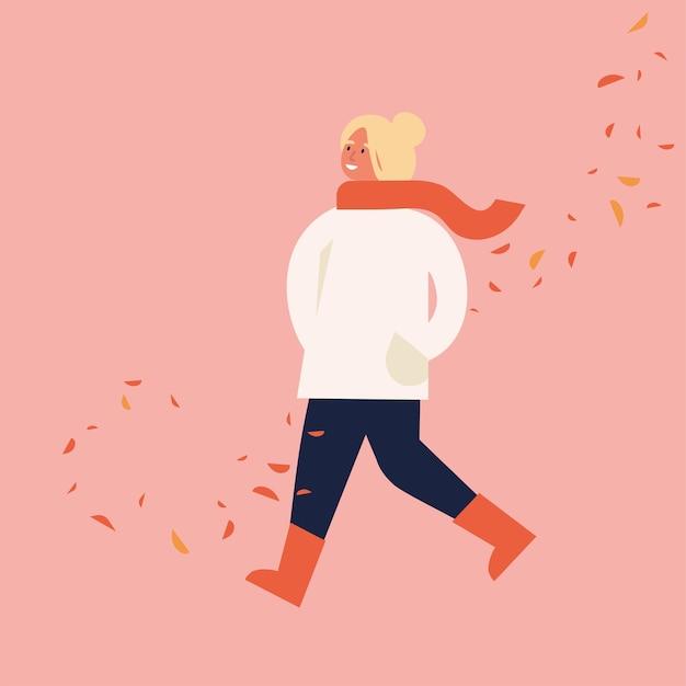 Illustration de femme heureuse en vêtements de saison d'automne. jeune fille marchant entourée de feuilles qui tombent.
