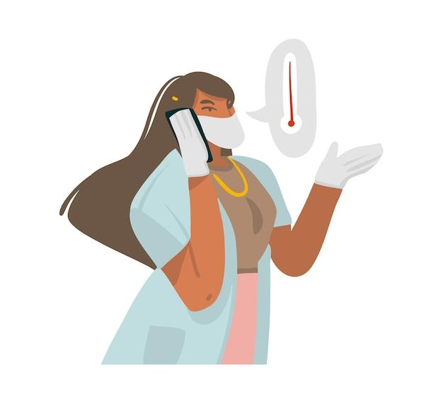 Illustration d'une femme médecin donnant des recommandations par téléphone