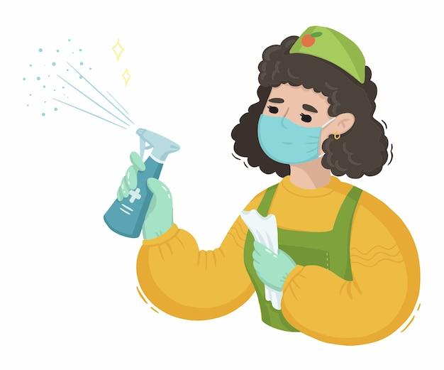 Illustration de femme de ménage avec désinfectant contre le virus