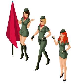 Illustration de femme militaire isométrique
