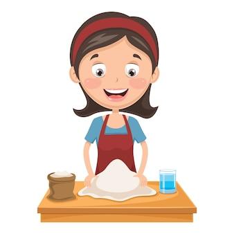 Illustration de femme pétrir la pâte