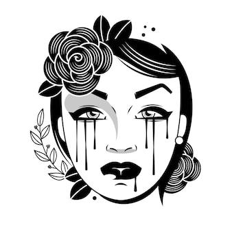 Illustration d'une femme qui pleure avec des larmes tombant sur son visage.
