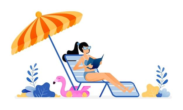 Illustration de femme se faire bronzer et profiter de vacances sous des parapluies