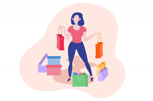 Illustration de femme et de shopping