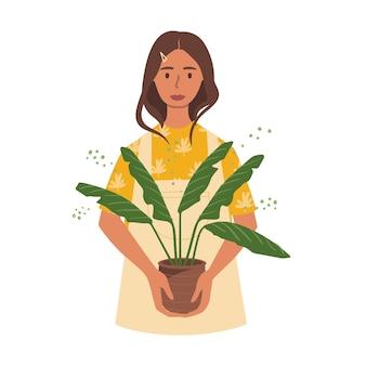 Illustration d'une femme tenant un pot avec une plante. hobby pour cultiver des plantes d'intérieur.