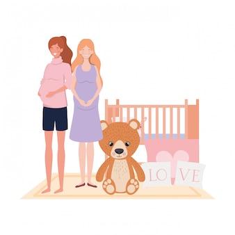 Illustration de femmes enceintes isolées