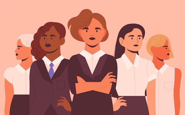 Illustration de femmes entrepreneurs confiants dessinés à la main